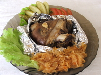Baked pork hock in foil